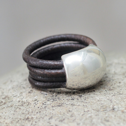 Leather Silver Designer Ring 'Dark Brown Moon'