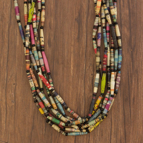 Hand Made Recycled Paper Long Necklace 'Rainbow Paths'