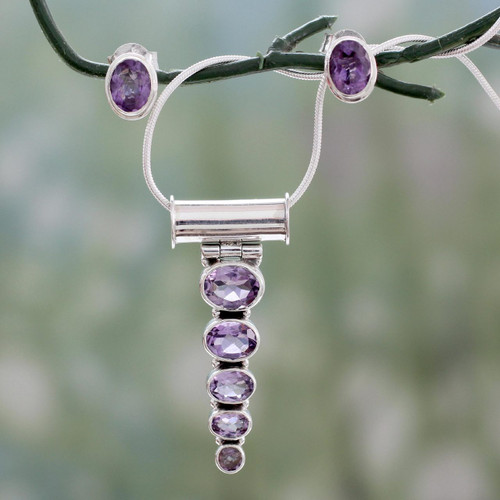 Amethyst Necklace and Earrings Jewelry Set 'Aware'