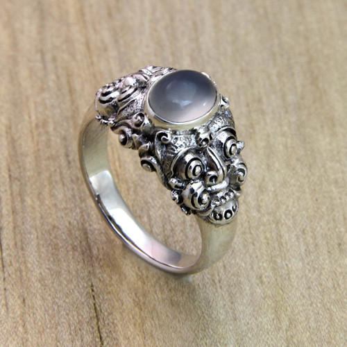 Men's Rainbow Moonstone and Sterling Silver Ring 'Goodness'