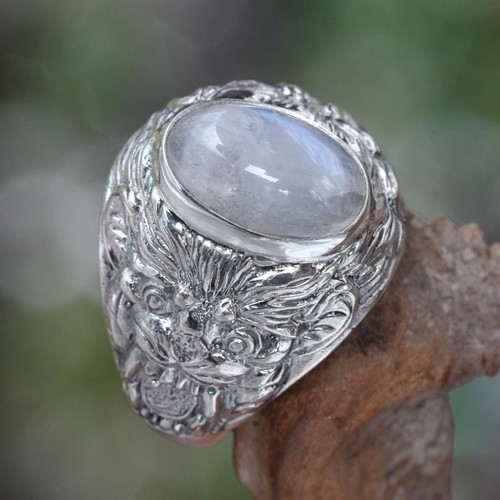 Men's Sterling Silver and Rainbow Moonstone Ring 'Lion Charisma'