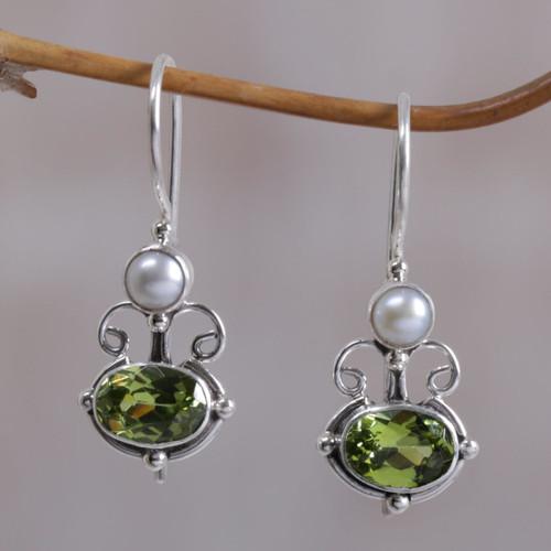 Peridot Sterling Silver Drop Earrings 'Sunrise Spirit'