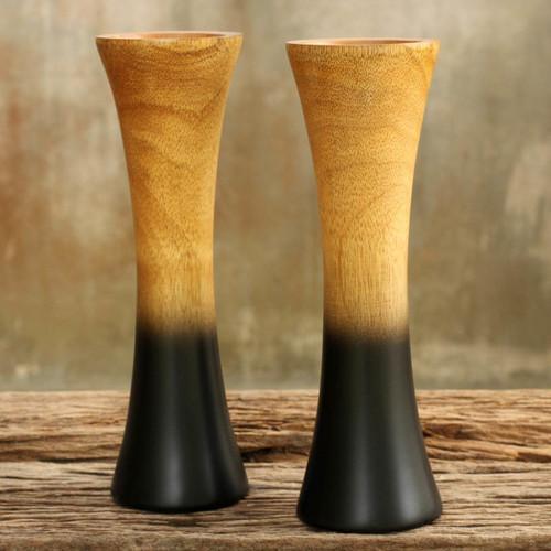 Handmade Mango Wood Vases (Pair) 'Volcanoes'