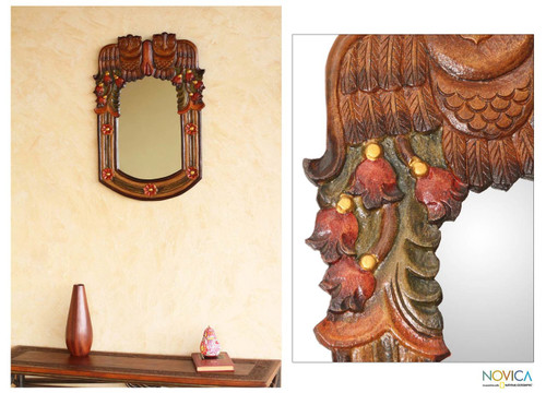 Hand Made Wood Owl Mirror 'Night Owls'