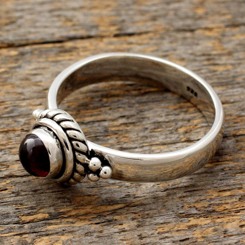 Sterling Silver and Garnet Ring 'Mystery'