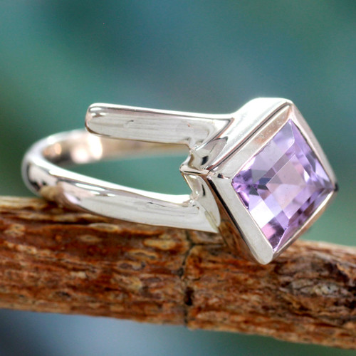 Hand Crafted Sterling Silver Single Stone Amethyst Ring 'Lilac Spin'