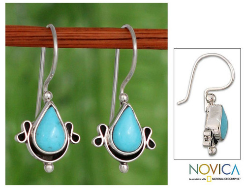 Turquoise and  Sterling Silver Drop EarringsMexico 'Droplet from the Sea'