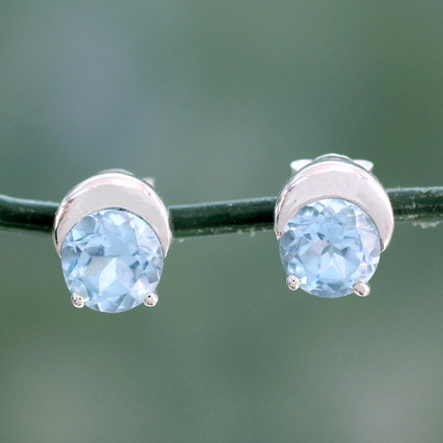 Sterling Silver and Blue Topaz Stud Earrings from India 'Twinkling Moons'