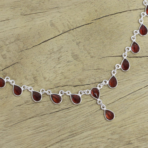 Artisan Crafted Sterling Silver Waterfall Garnet Necklace 'Scarlet Droplets'