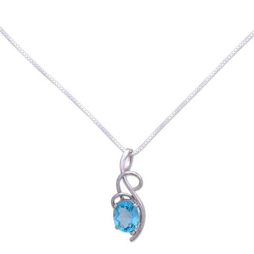 Topaz pendant necklace 'Blue Delight'