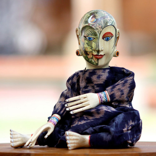 Cotton and Wood Decorative Doll 'In the Garden'