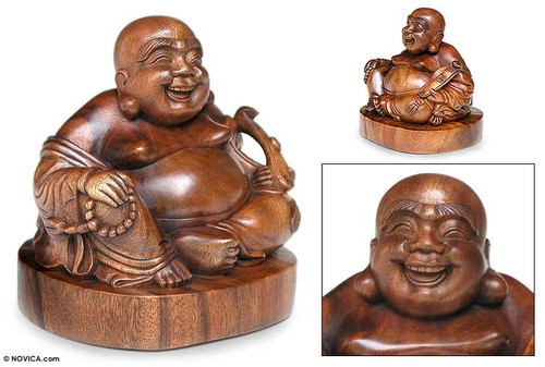 Original Wood Sculpture  'Jovial Buddha'