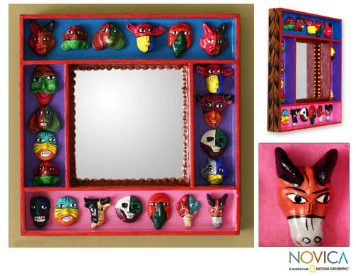 Retablo Folk Art Wall Mirror 'Party of Masks'