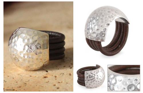 Handmade Leather Silver Designer Ring 'Armor Shell'