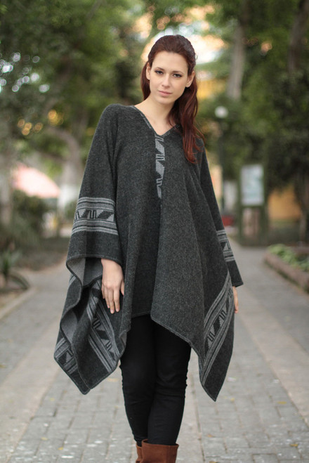 Alpaca Wool Blend Reversible Poncho 'Gray Black Glyphs'