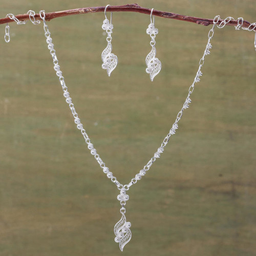 Filigree Earrings and Necklace Jewelry Set 'Leaves of Love'