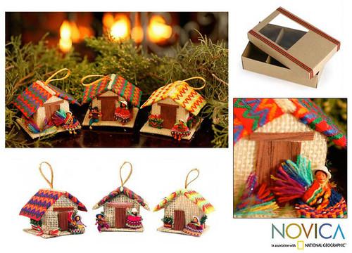 Peru Handmade Christmas Tree Ornament Se 'Andean Houses'