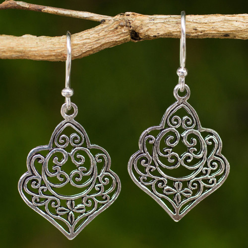 Thai Handmade Ornate Sterling Silver Dangle Earrings 'Arabesque'
