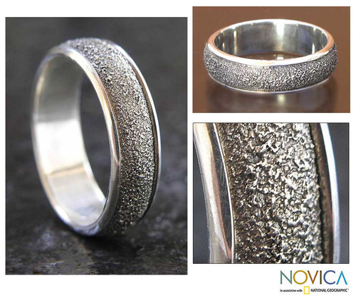 Men's Modern Sterling Silver Band Ring 'Raw'