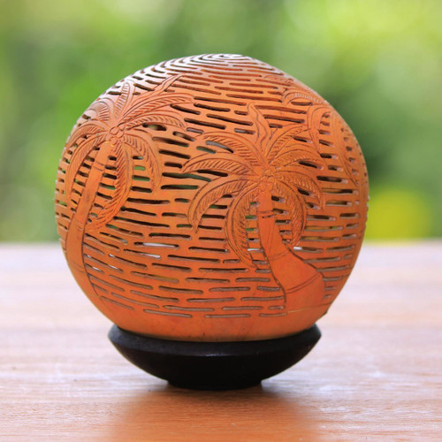 Unique Coconut Shell Carving with Stand 'Coconut Grove'