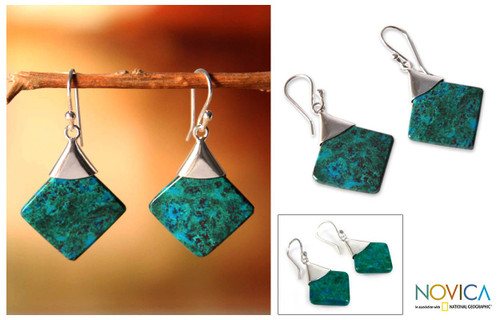 Peruvian Chrysocolla and Silver Earrings Handmade Jewelry 'Synthesis'