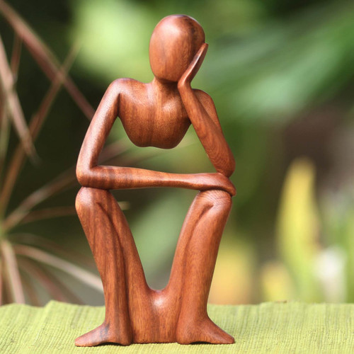 Handcrafted Indonesian Wood Sculpture 'Thinking of You'