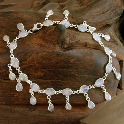 Fair Trade Sterling Silver Rainbow Moonstone Anklet 'Moon Dancer'