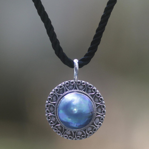 Unique Sterling Silver and Pearl Pendant Necklace 'Blue Indonesian Moon'