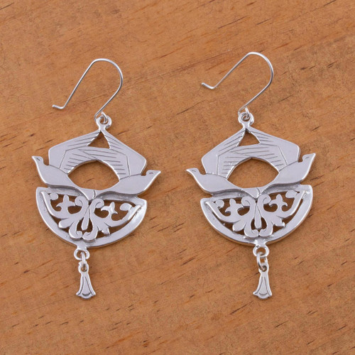 Sterling silver dangle earrings 'Songbirds'