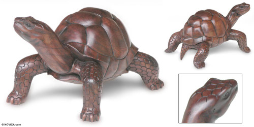 Hand Crafted Wood Turtle Sculpture 'Mythic Tortoise'