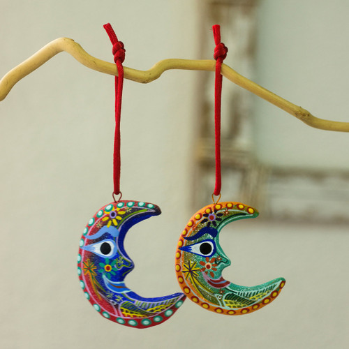 Handcrafted Christmas Ceramic Ornaments (Set of 6) 'Crescent Moon'