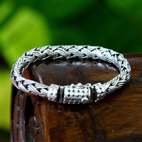 Men's Sterling Silver Chain Bracelet 'Wisdom'