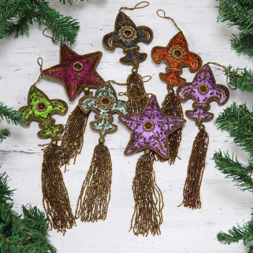 Beaded ornaments (Set of 7) 'Happy Holiday'