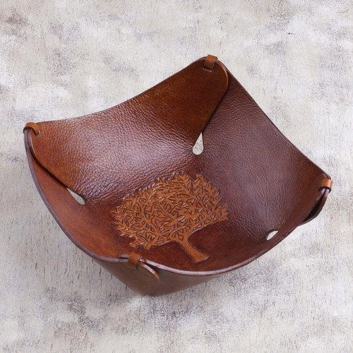 Tree of Life Artisan Crafted Tooled Leather Catchall 'Tree of Life'