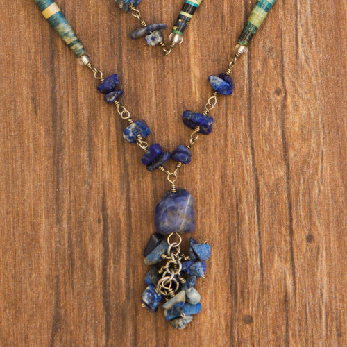 Sodalite Long Necklace Brazil Recycled Art 'Love Story'