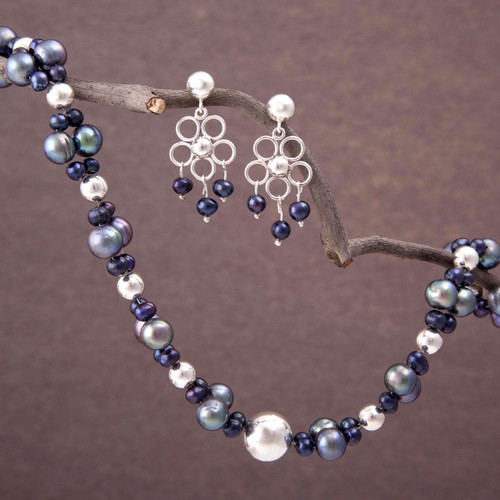 Unique Floral Fine Silver Beaded Pearl Jewelry Set 'Iridescent Gray'