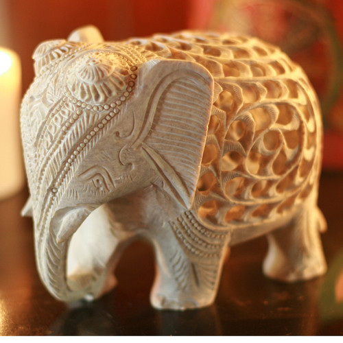 Natural Soapstone Elephant Sculpture Carved by Hand 'Mother Elephant'