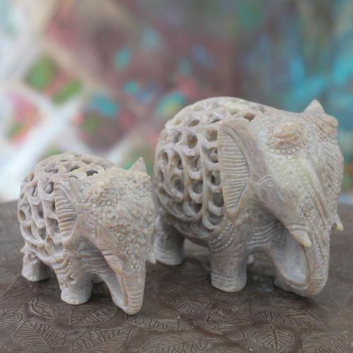 Hand Carved Soapstone Jali Sculptures (Pair) 'Elephant Duet'