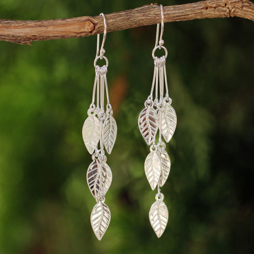 Hand Crafted Sterling Silver Dangle Earrings 'Leaf Chimes'