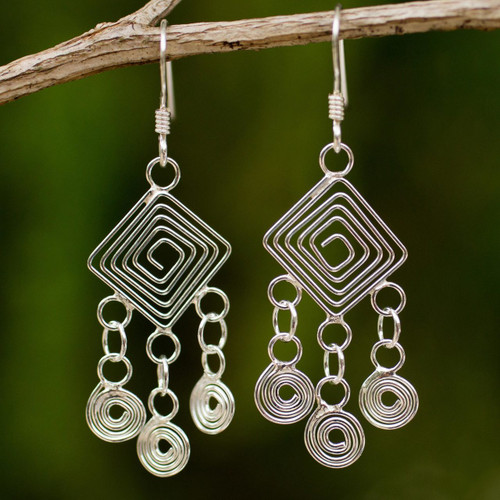 Handmade Sterling Silver Chandelier Earrings 'Geometry Lesson'