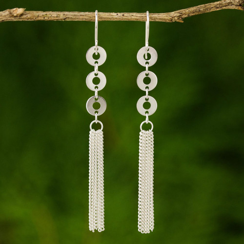 Hand Made Sterling Silver Dangle Earrings 'Pony Tail'