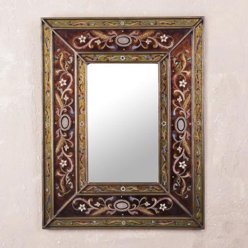 Rectangular Glass Wall Mirror Reverse Painted from Peru 'Cajamarca Warmth'
