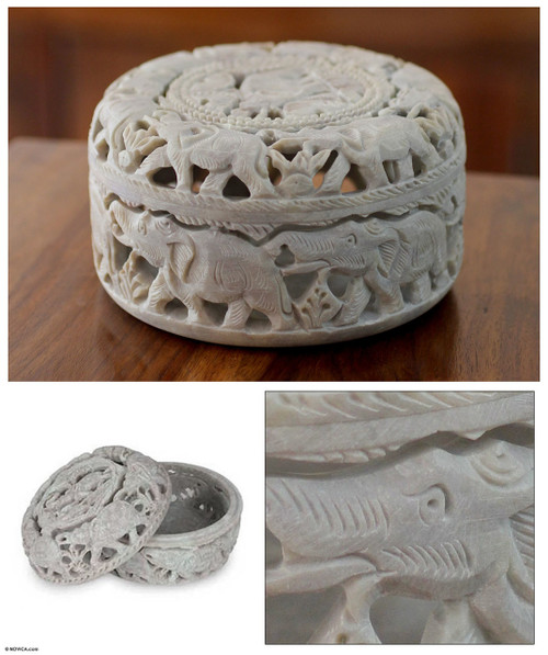 Artisan Crafted Jali Soapstone Jewelry Box 'Elephant Procession'
