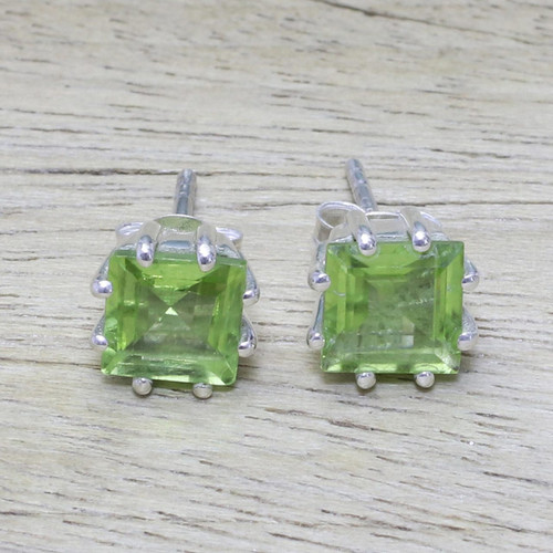 Peridot Earrings Sterling Silver Handmade Indian Jewelry 'Lucky Squares'