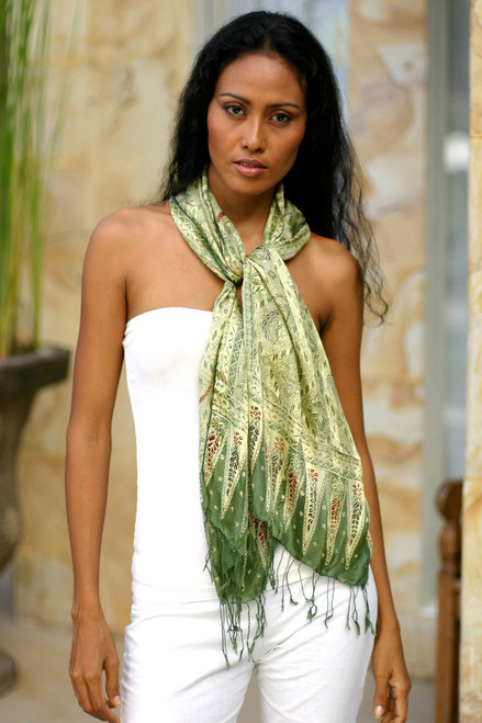Hand Made Floral Silk Batik Scarf 'Royal Java Green'