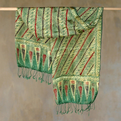 Batik Silk Patterned Scarf 'Jade Princess'