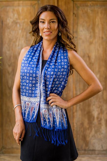 Blue Silk Batik Scarf 'Awakening'