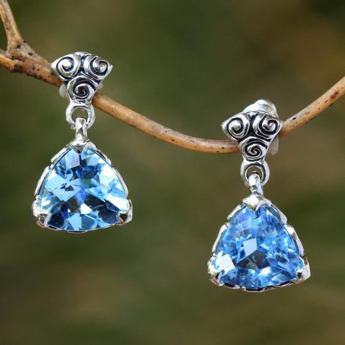 Blue Topaz Sterling Silver Dangle Earrings 'Mystic Trinity'