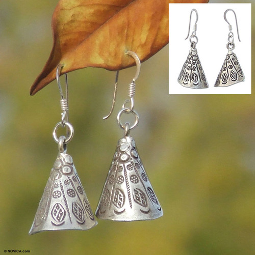 Handmade Hill Tribe 950 Silver Dangle Earrings 'Hill Tribe Bell'