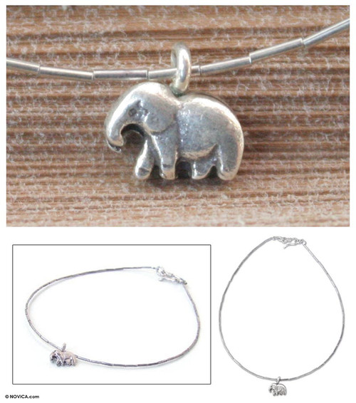 Sterling Silver Charm Anklet 'Little Elephant'
